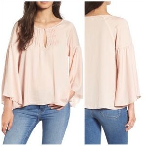Hinge Satin Bell Sleeve Top Boxy Pink Blouse Sz S
